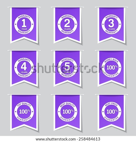 Warranty Guarantee Seal Label Vector Violet Icon Design Set