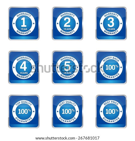 Warranty Guarantee Seal Square Vector Blue Icon Design Set
