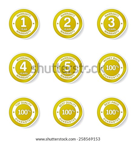 Warranty Guarantee Seal Yellow Vector Button Icon Design Set