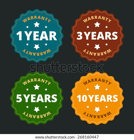 Warranty labels - for 1, 2, 5 and 10 years in flat style. Vector illustration.