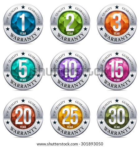 Warranty Seal Chrome Badge with Gem Stones - stock vector