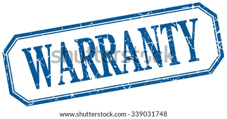 warranty square blue grunge vintage isolated label - stock vector