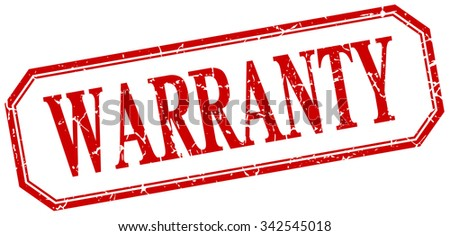warranty square red grunge vintage isolated label - stock vector