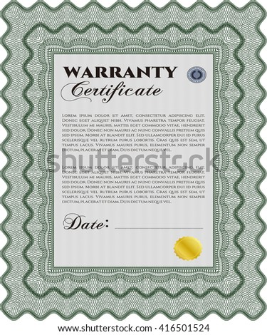 Warranty template. Customizable, Easy to edit and change colors. Good design. With complex background.