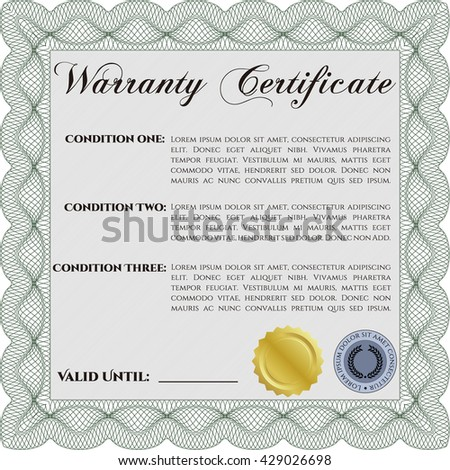 Warranty template. Good design. Customizable, Easy to edit and change colors. With complex background.