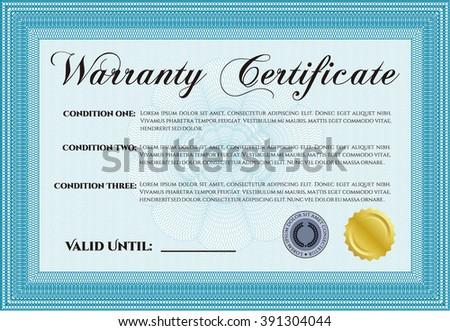 Warranty template or warranty certificate.  - stock vector