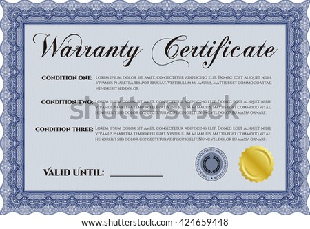 Warranty template or warranty certificate. With great quality guilloche pattern. Sophisticated design.