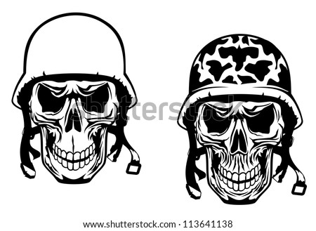 Warrior and pilot skulls in military helmets. Jpeg version also available in gallery - stock vector