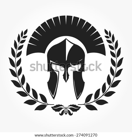 Warrior, gladiator, knight icon with laurel wreath -  vector - stock vector