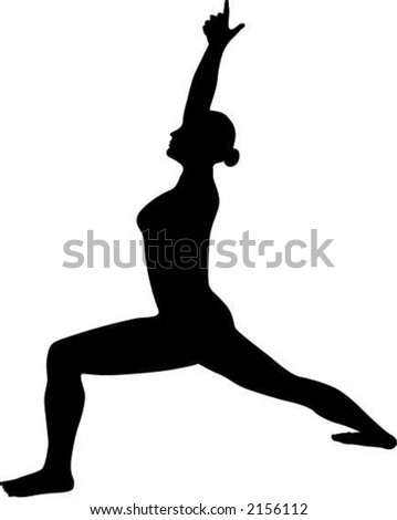 Warrior One Yoga Pose Silhouette - stock vector
