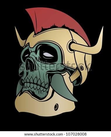 Warrior Skull - stock vector