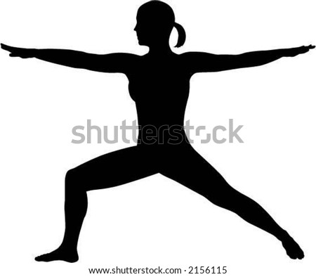 Warrior Two Yoga Pose Silhouette - stock vector