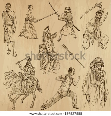 Warriors around the World (vector pack no.7). Collection of an hand drawn illustrations (originals, no tracing). Each drawing comprises of two layers of outlines,the colored background is isolated. - stock vector