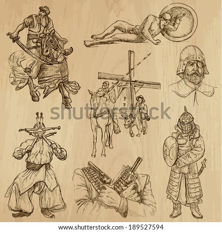 Warriors around the World (vector pack no.5). Collection of an hand drawn illustrations (originals, no tracing). Each drawing comprises of two layers of outlines,the colored background is isolated. - stock vector