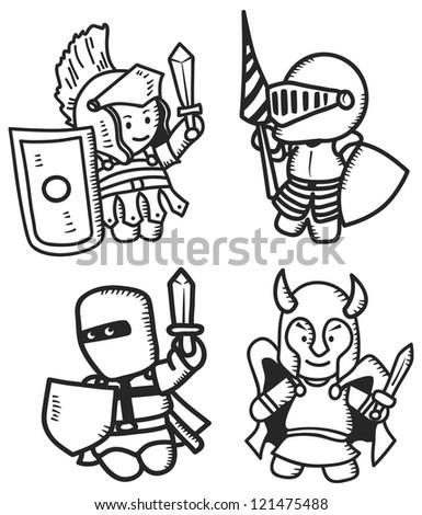 warriors cartoon - stock vector
