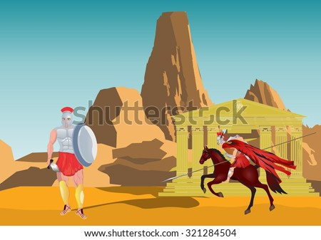 Warriors of ancient sparta and mountain and temple on background - stock vector