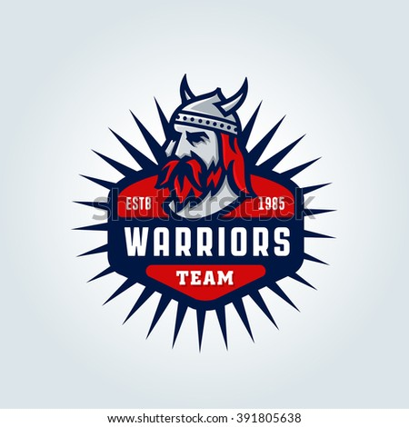 Warriors Team. Varsity College School League Sport Logo Concept. Original Solid Bold Clean Strong Powerful Badge Design. Classic Athletic Department Style. Vintage Americana Flavor. T shirt Print. - stock vector