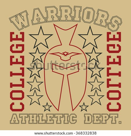 Warriors tee print design, vector