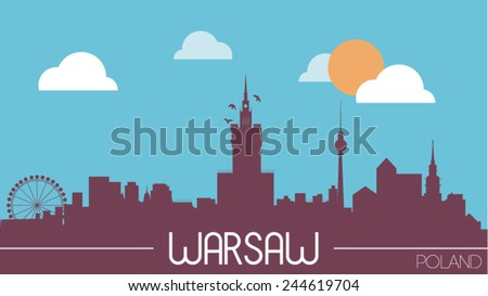 Warsaw Poland skyline silhouette flat design vector illustration - stock vector