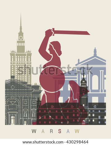 Warsaw skyline poster in editable vector file