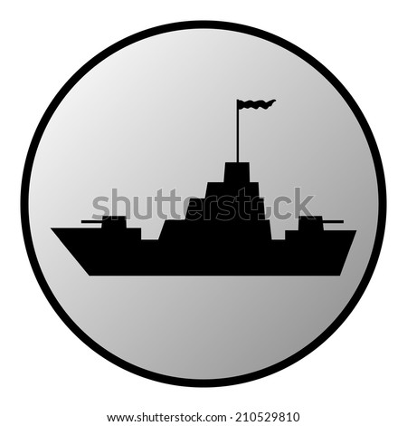 Warship button on white background. Vector illustration. - stock vector