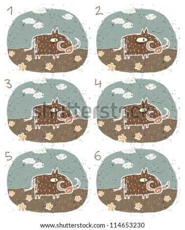 Warthog Puzzle ... Task: Find two identical images (match the pair)! ... Answer: No. 3 and 5 - stock vector