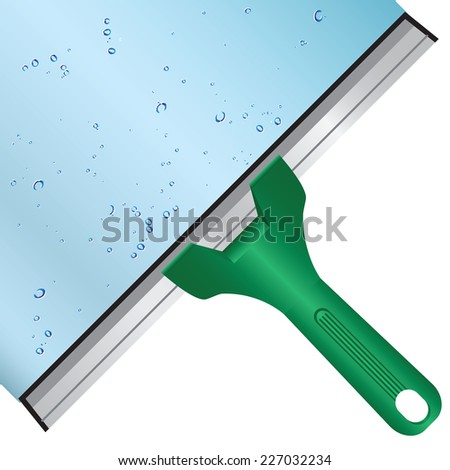 Wash the window glass by means of a scraper with a rubber surface. Vector illustration. - stock vector