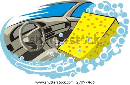 washer and cleaning car salon - stock vector