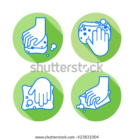 Washing by hand  with a sponge. Cleaning Icons set in line style with long shadows. - stock vector