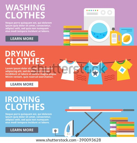Washing clothes, drying clothes, ironing clothes flat illustration set. Creative flat design elements, concepts for web sites, web banners, printed materials, infographics. Modern vector illustration - stock vector