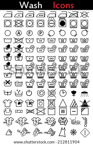 Washing instruction icon set of 110 - stock vector