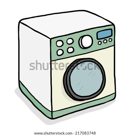 Washing machine cartoon vector and illustration hand drawn style