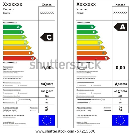 Washing machine energy rating graph label in vector. - stock vector