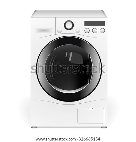 Washing machine isolated on white background. Front view, close-up. Editable vector.