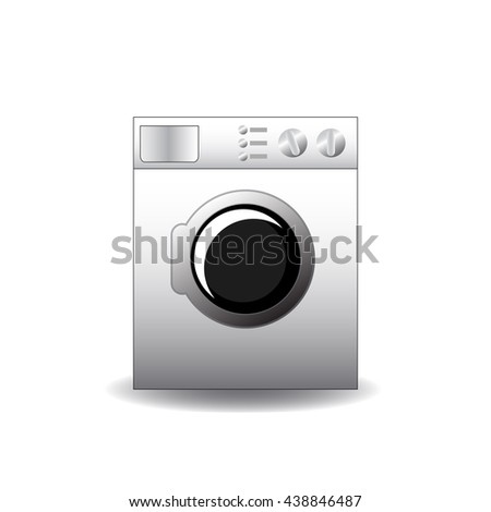 Washing machine vector illustration in realistic style, laundry machine front realistic image, clothes washing machine picture, front loading washing machine drawing, automatic washing machine