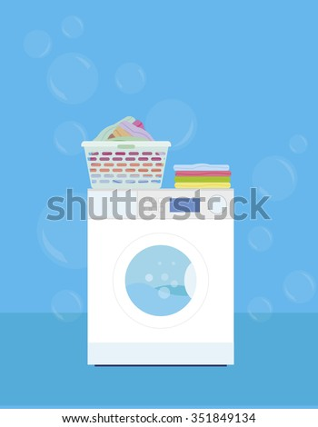 Washing machine with a basket of laundry on a blue background - vector illustration - stock vector