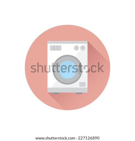 washing machine with long shadow flat icon