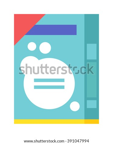 Washing powder container, pack with washing powder for housework cleaning. Pack of housework cleaning washing powder flat vector illustration on white background.  - stock vector