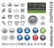 Washing sighs and buttons. Vector icons set of drying, bleaching and ironing instruction. - stock vector
