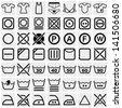 Washing symbols (Washing instruction symbols, bleaching and Ironing instruction, Dry clean icon)  vector icon set on gray - stock photo