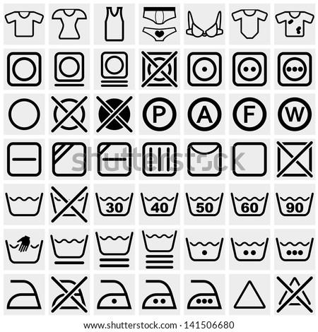 Washing Symbols Washing Instruction Symbols Bleaching Stock Vector