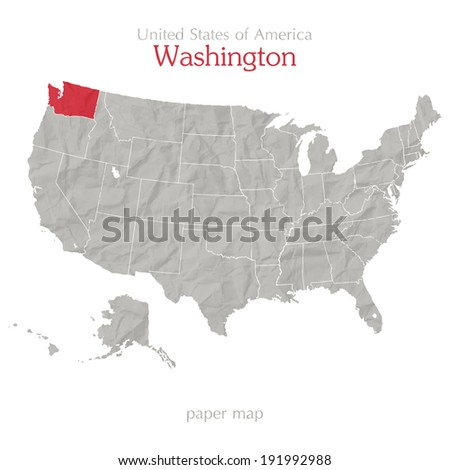 Washington and United States of America maps outline - stock vector