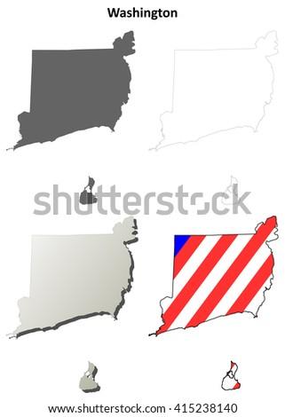 Washington County, Rhode Island blank outline map set - stock vector