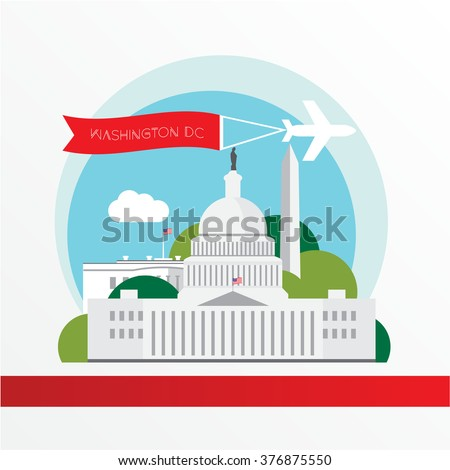 Washington DC, detailed silhouette. Trendy vector illustration, flat style. Stylish colorful landmarks. The concept for a web banner. United States Capitol - The symbol of US - stock vector