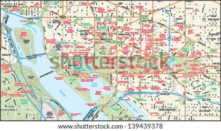Washington, DC downtown map - stock vector