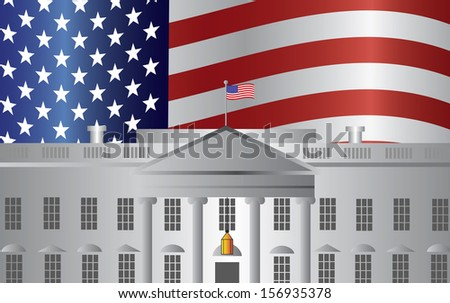 Washington DC President White House Building with US American Flag Background Vector Illustration - stock vector