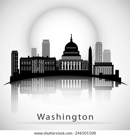 Washington DC Skyline Design. Vector silhouette - stock vector