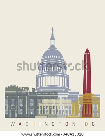 Washington DC skyline poster in editable vector file - stock vector