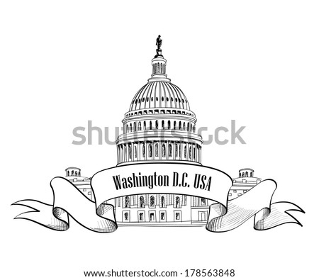 Washington DC symbol. United States Capitol (Capitol hill, U. S. Capitol dome). Vector hand drawn sketch isolated on white background.  - stock vector