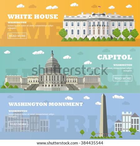 Washington DC tourist landmark banners. Vector illustration with American famous buildings. Capitol, White House, Washington monument. - stock vector